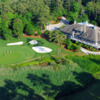 Aerial view of the 18th green and clubhouse at Tidewater Golf Club